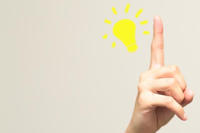 人差し指と光る豆電球